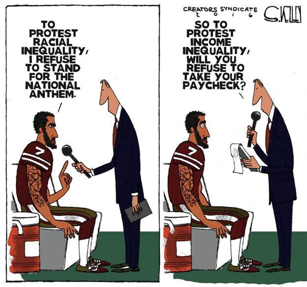 Image result for branco cartoons on nfl football players vs. trump