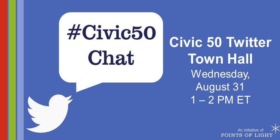One hour until #Civic50Chat! Follow the hashtag and tweet your questions to partake in the conversation! https://t.co/8KfI9E61nn