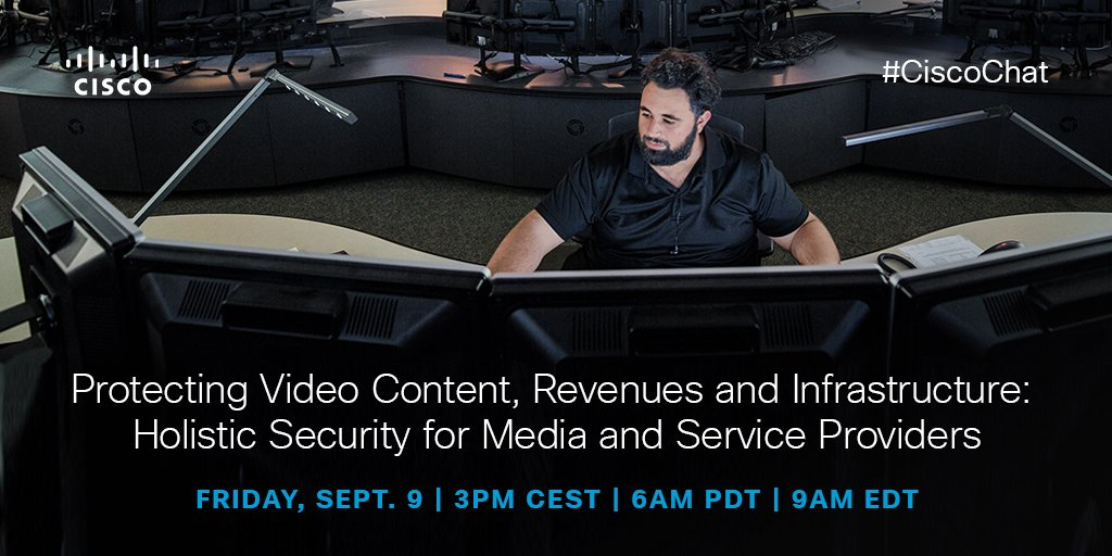 Join our #IBCShow #CiscoChat on 9/9: Protecting #video content, revenues and infrastructure: https://t.co/SxI9FAH1Rq https://t.co/L9weFZsn0n