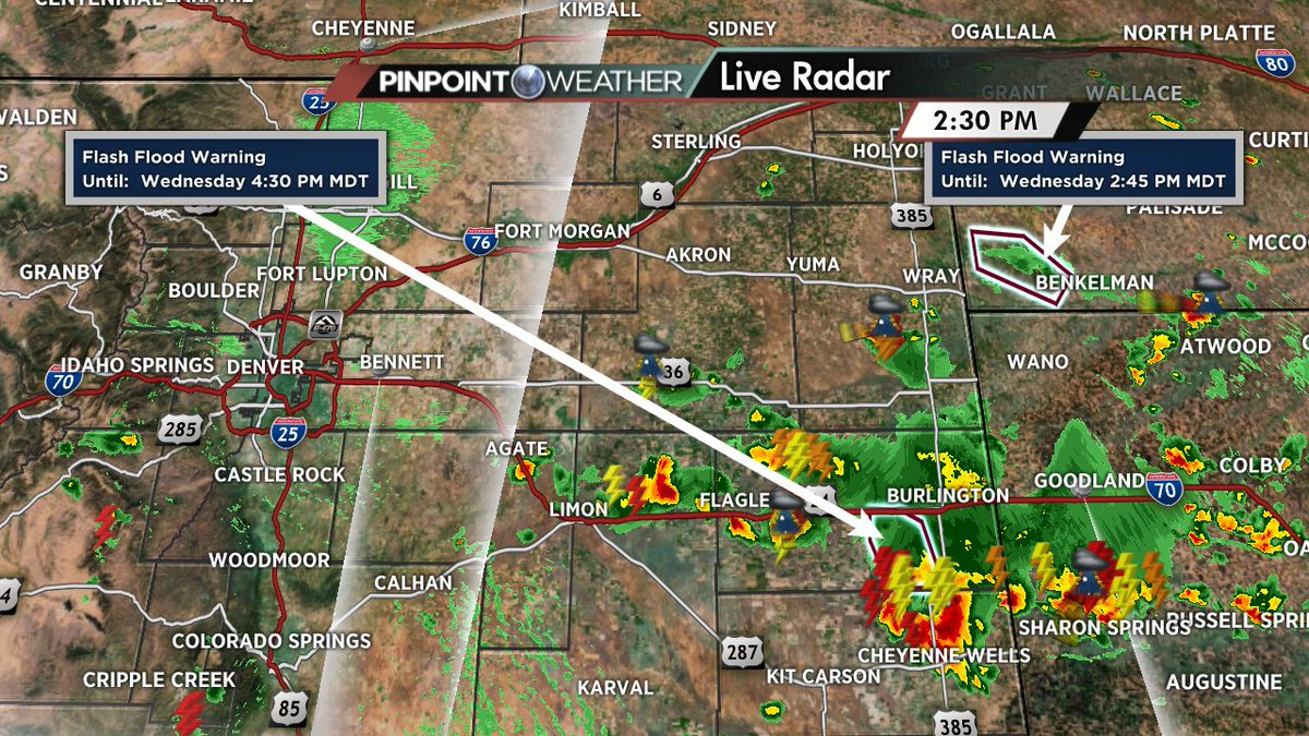 The biggest storms of the day have remained on the plains. cowx