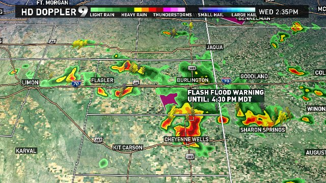 Scattered storms are firing up in E. Colorado. Flash Flood Warning in Kit Carson Co. Up to 3