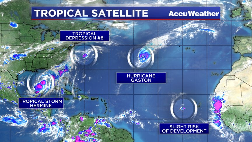 Lots of activity in the Atlantic, but that's not unusual for this time of year.