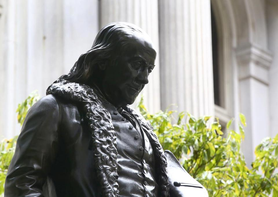 The Benjamin Franklin statue made its triumphant return to the Freedom Trail