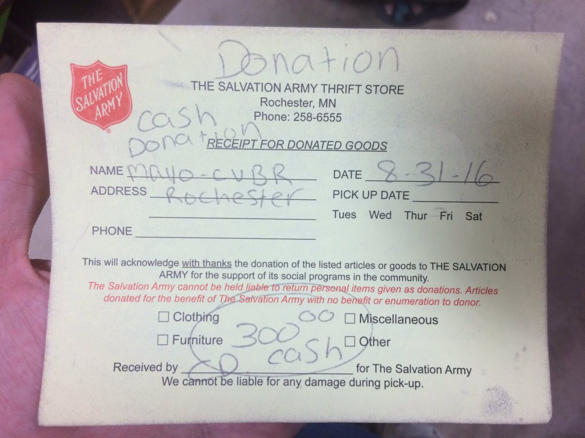 Salvation army clothing pick up expert event salvation army donation receipt altavistaventures Images