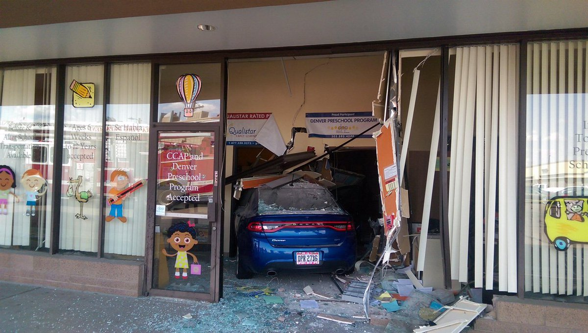 2 children, 1 adult taken to hospital after car crashes into Bright Stars Child Care Center in Aurora.