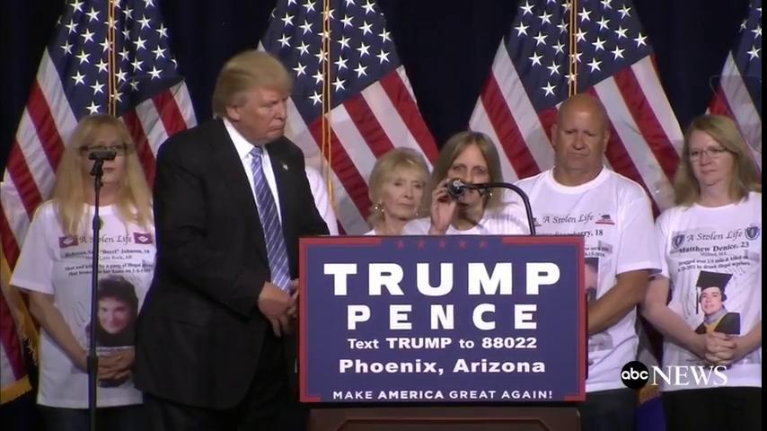 Trump invites parents on stage whose family members were killed by undocumented immigrants.