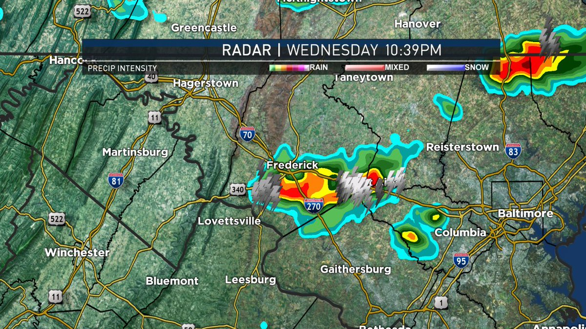 Watching a Storm near Frederick and Mt. Airy now. Lightning and heavy rain. I'm tracking it