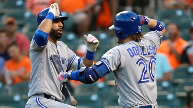 Bautista homers on 1st pitch of the night in Jays' 5-3 win over Baltimore