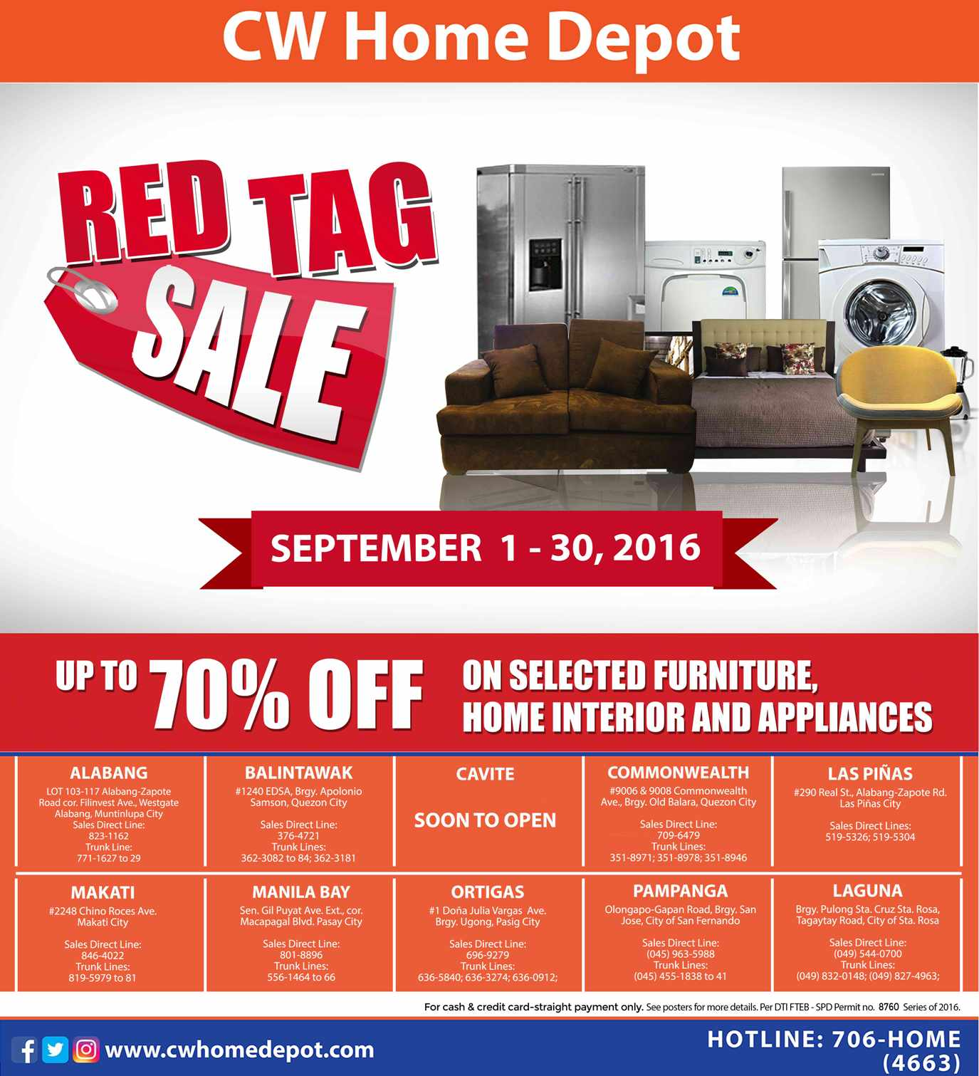 CW Home Depot on Twitter   Red Tag Sale from Sept  1 30  2016  Enjoy up to  70  off on select furniture  home interior   appliances. CW Home Depot on Twitter   Red Tag Sale from Sept  1 30  2016