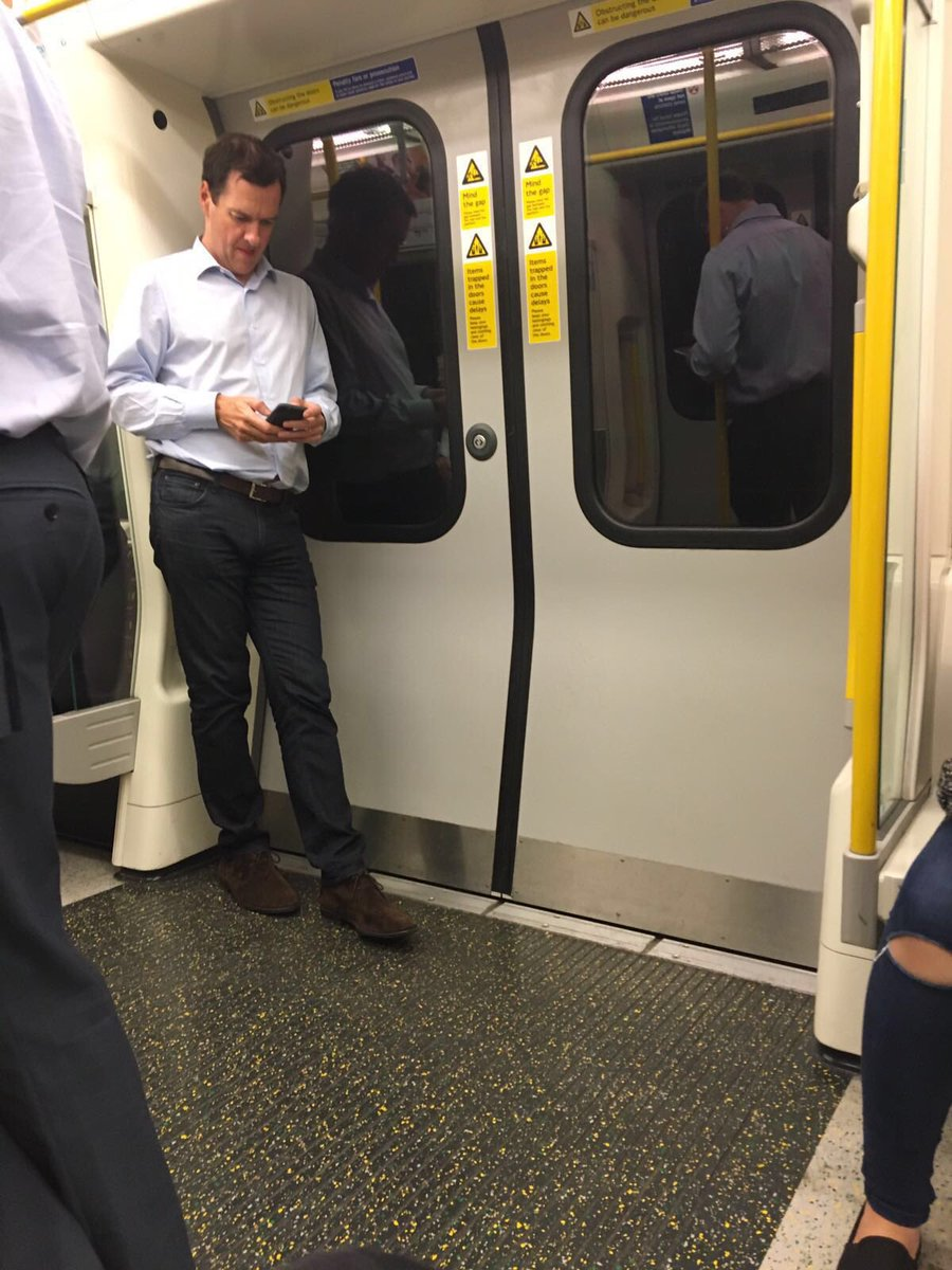 .@GeorgeOsborne taking the tube earlier today. The days of his ministerial car long gone... (Credit Sophie Cooper) https://t.co/ALtmErL5R8