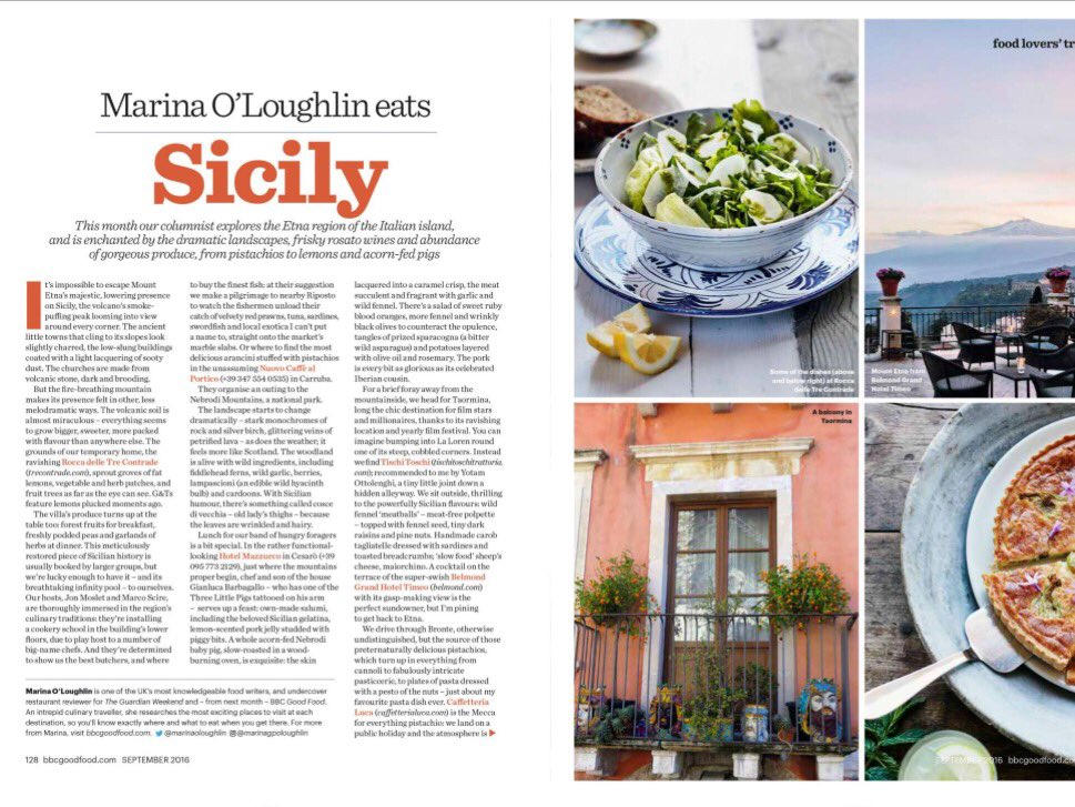Out today in @bbcgoodfood magazine: @MarinaOLoughlin visits our #hideawayvilla and eats her way through #Sicily