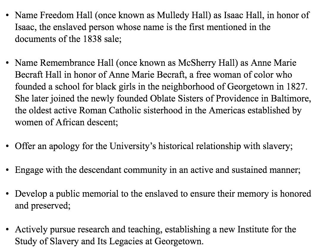 Per email from Georgetown president, here are some steps university will take as reparation for links to slavery: https://t.co/E4guQPMxqr