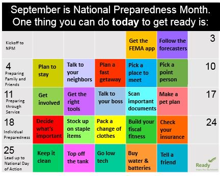 It's National Preparedness Month! Join us as we break down your checklist one day and task at a time. #NatlPrep https://t.co/4VkrghiYMX