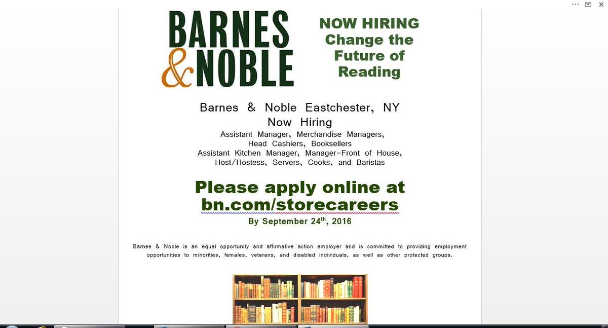 B N Eastchester On Twitter Now Hiring Apply Online Bn Com