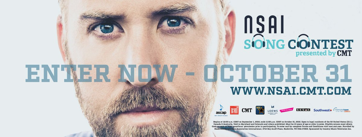 It's here!! Send in your best songs now through October 31, 2016 at https://t.co/xQtEIwprJf ! #NSAISongContest #CMT https://t.co/cdnFJ41WJu
