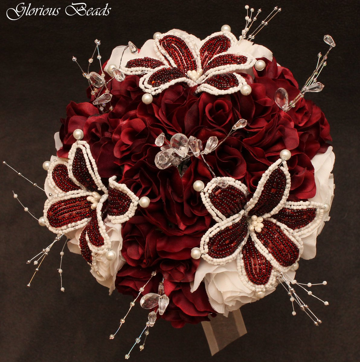 Glorious Beads On Twitter Red Burgundy Beaded Flower Quinceanera