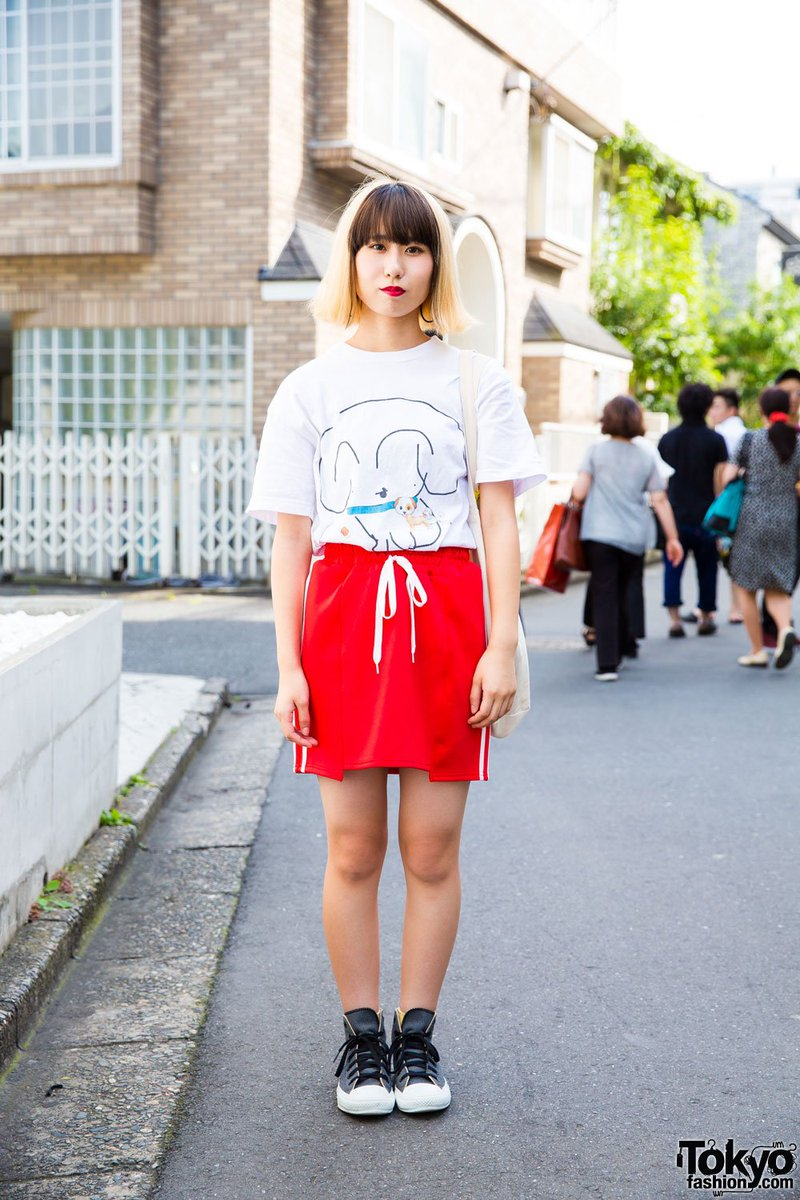 879908cadfc3f0 harajuku girl in sporty chic style w faith tokyo fashion converse amp unite  band tote