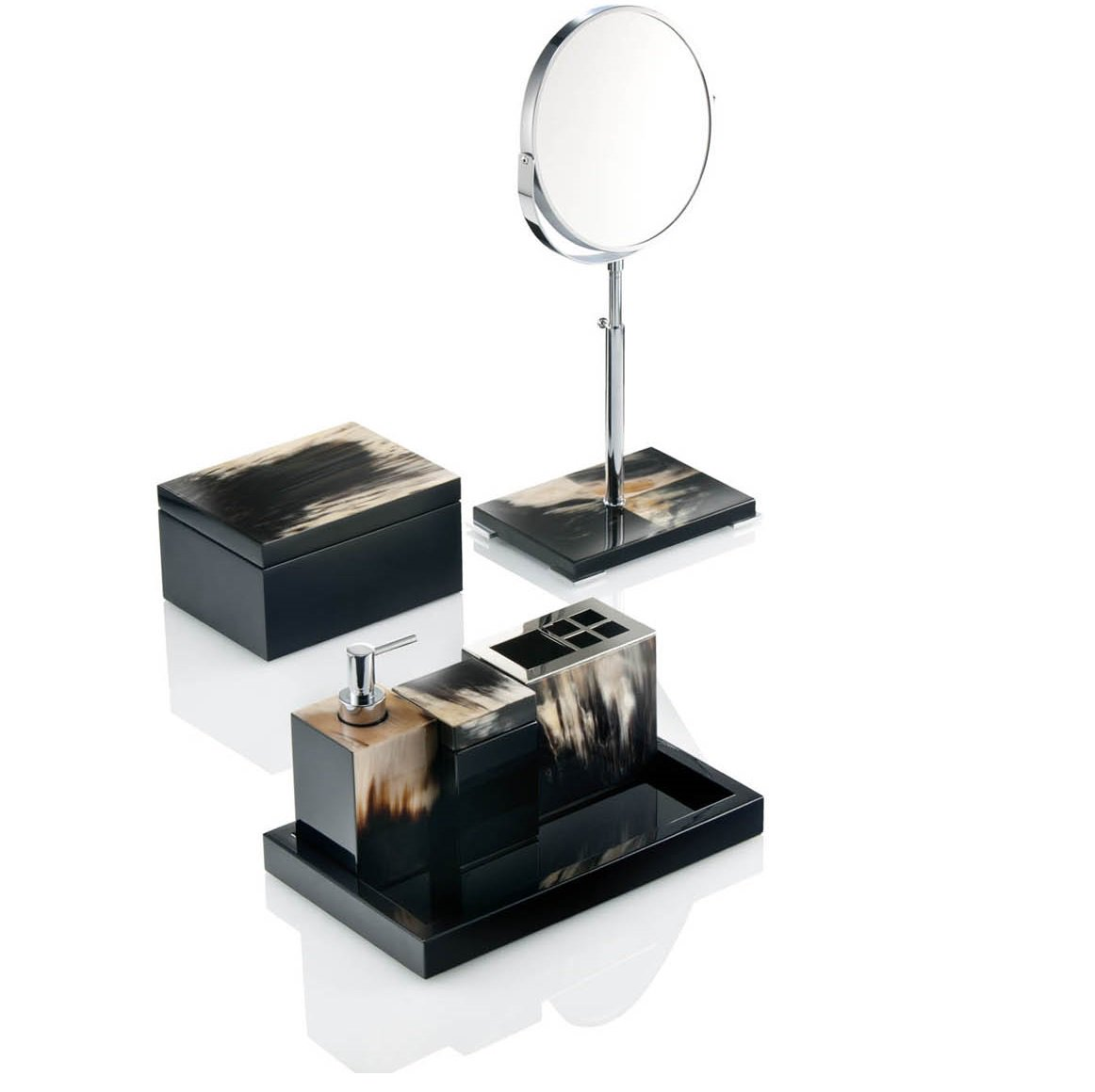 Collection of mirrored bathroom accessories sets for Bella lux bathroom accessories uk
