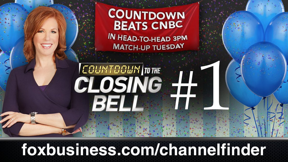 BREAKING: Ratings winner! Countdown to the Closing Bell beats CNBC! Thanks for watching @FoxBusiness #ClosingBell