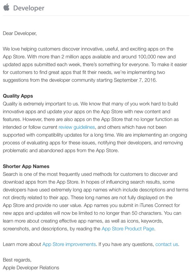 Apple emailed developers re: App Store curation updates: removing low-quality apps & enforcing shorter app names. https://t.co/DGJaDLOKuV