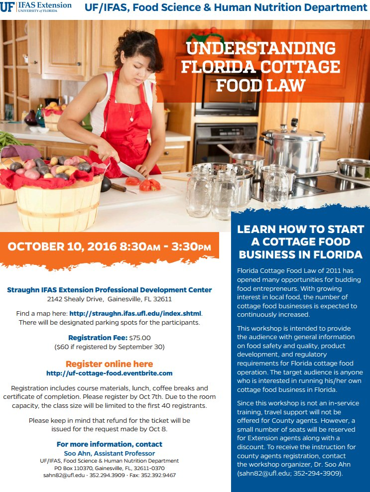 Uf Ifas Solutions On Twitter The Florida Cottage Food Law Workshop