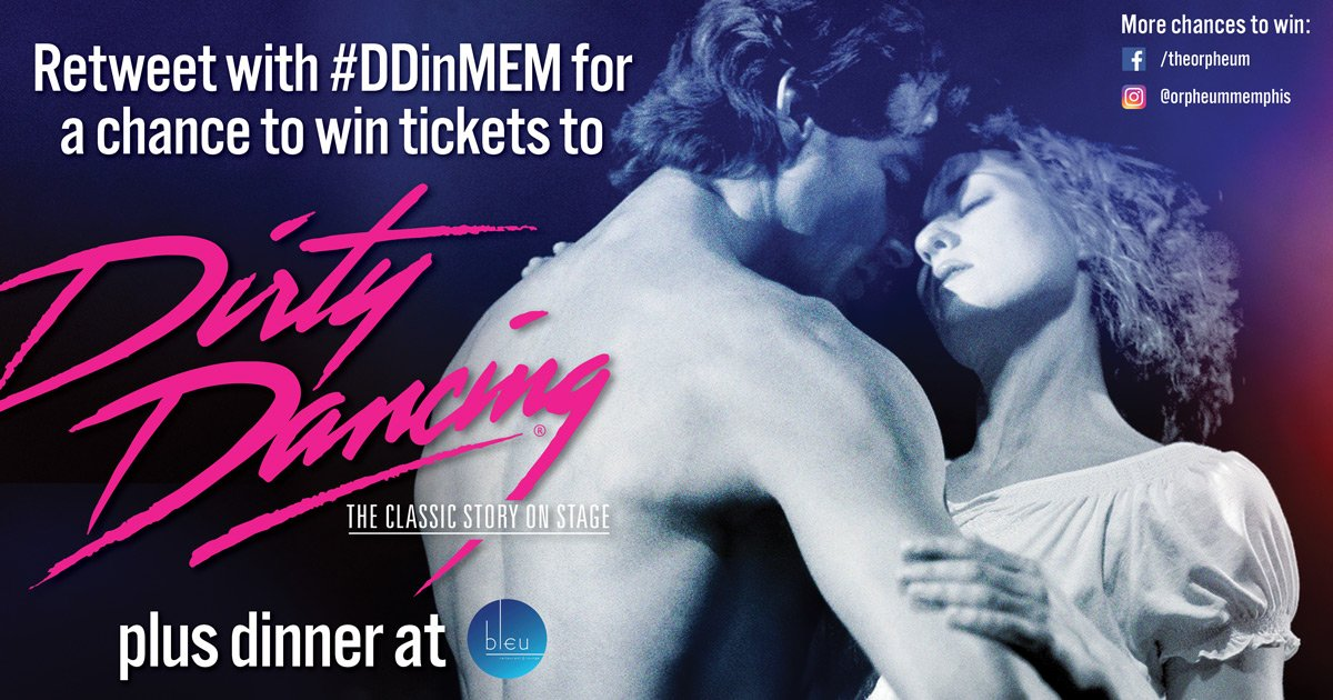 Retweet for a chance to win Dirty Dancing tickets (plus 1 grand prize winner gets $100 to @DowntownBleu)! #DDinMEM https://t.co/Wi98c7R2Lx