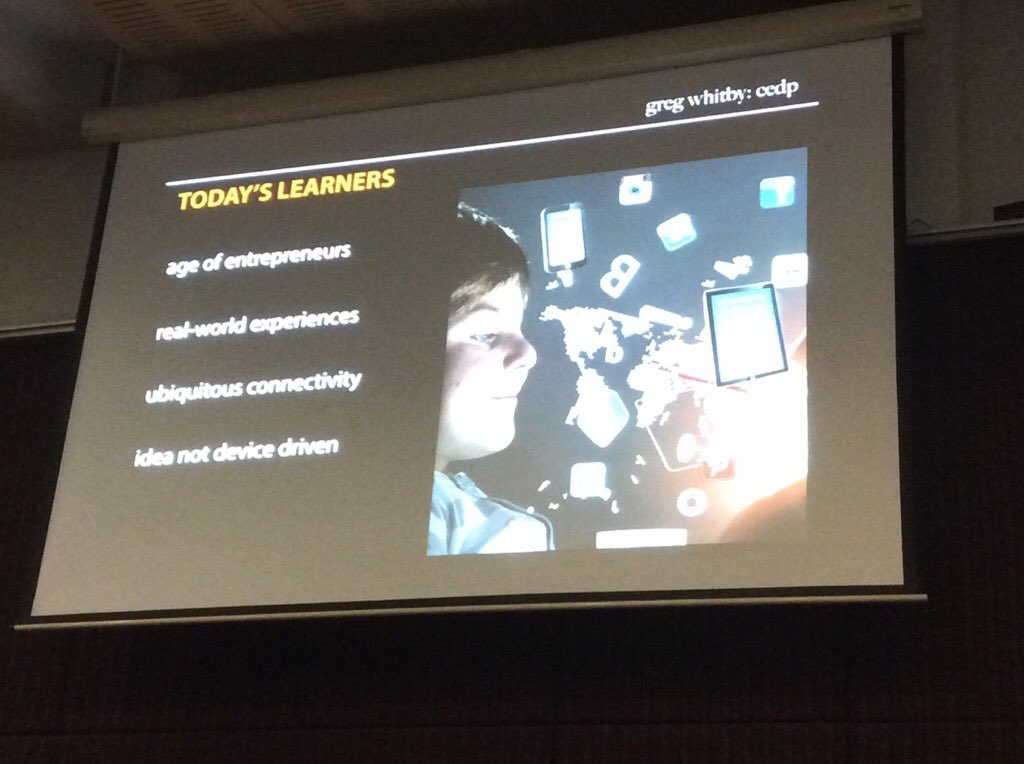 @gregwhitby: Today's learners meets learning theory. Design 4 this kind of thinking, experience & culture. #sybaffs https://t.co/He4sCx4u5n