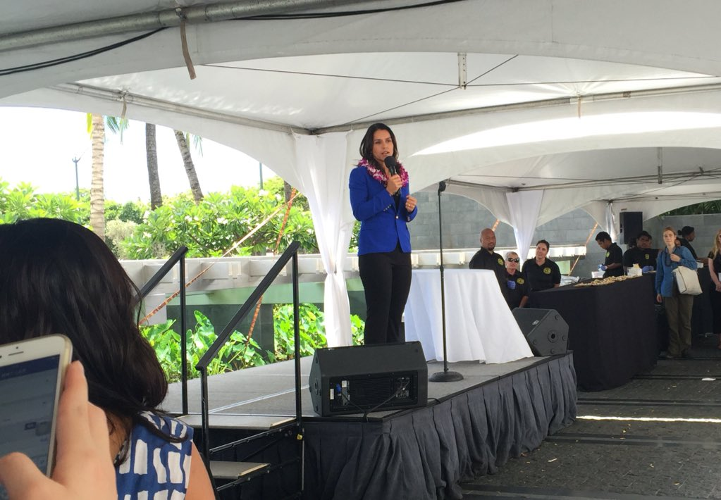 """Learn from those who come before us & share w/ brothers & sisters from around the world"" @TulsiGabbard at #IUCN https://t.co/dIff6rbGhQ"