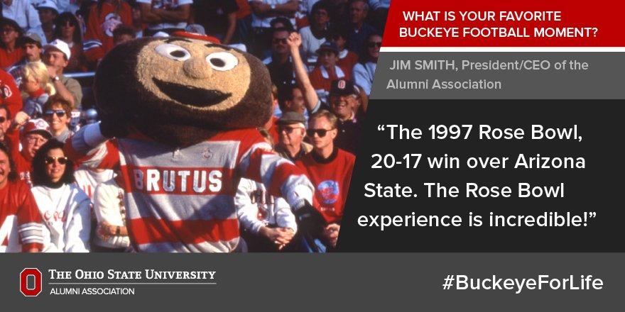 ".@OSUJimSmith's favorite #GoBucks football moment? The '97 Rose Bowl. ""The Rose Bowl experience is incredible!"" https://t.co/sv4TMhZjvC"