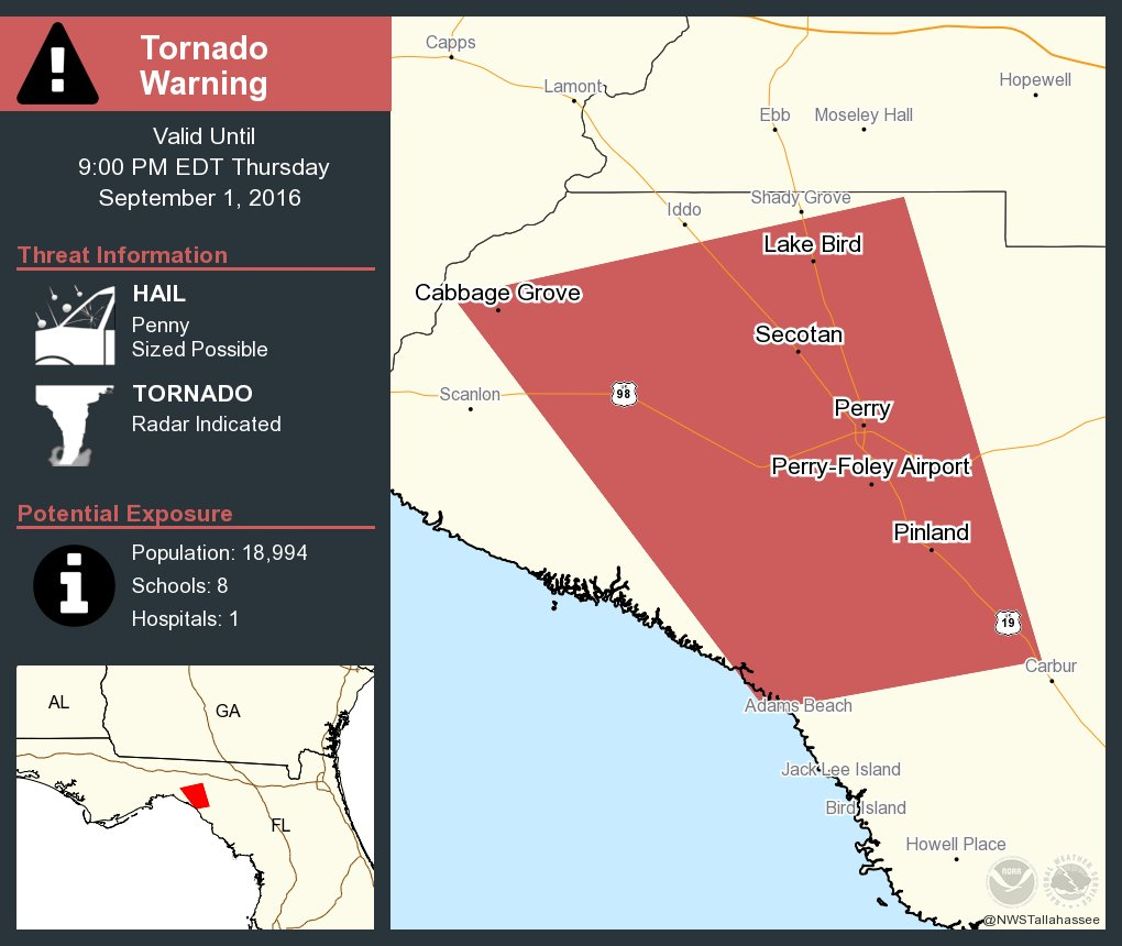 Take Cover Tornado Warning Continues For Perry Fl Athena Fl