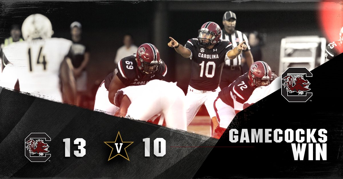 #GAMECOCKS WIN! 13-10 over Vandy to open the season 1-0. #SpursUp https://t.co/Ewds4dTaC7