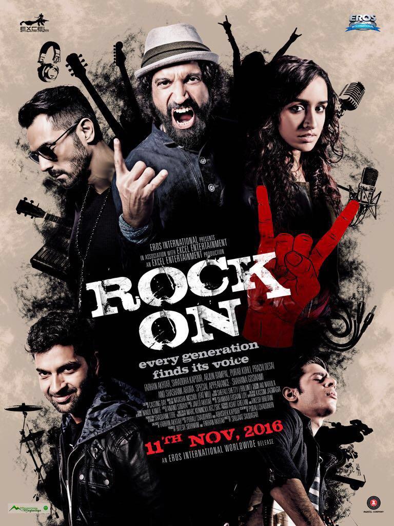 Rock On 2 First Poster starring Farhan Akhtar, Arjun Rampal, Purab Kohli, Shraddha Kapoor, Prachi Desai
