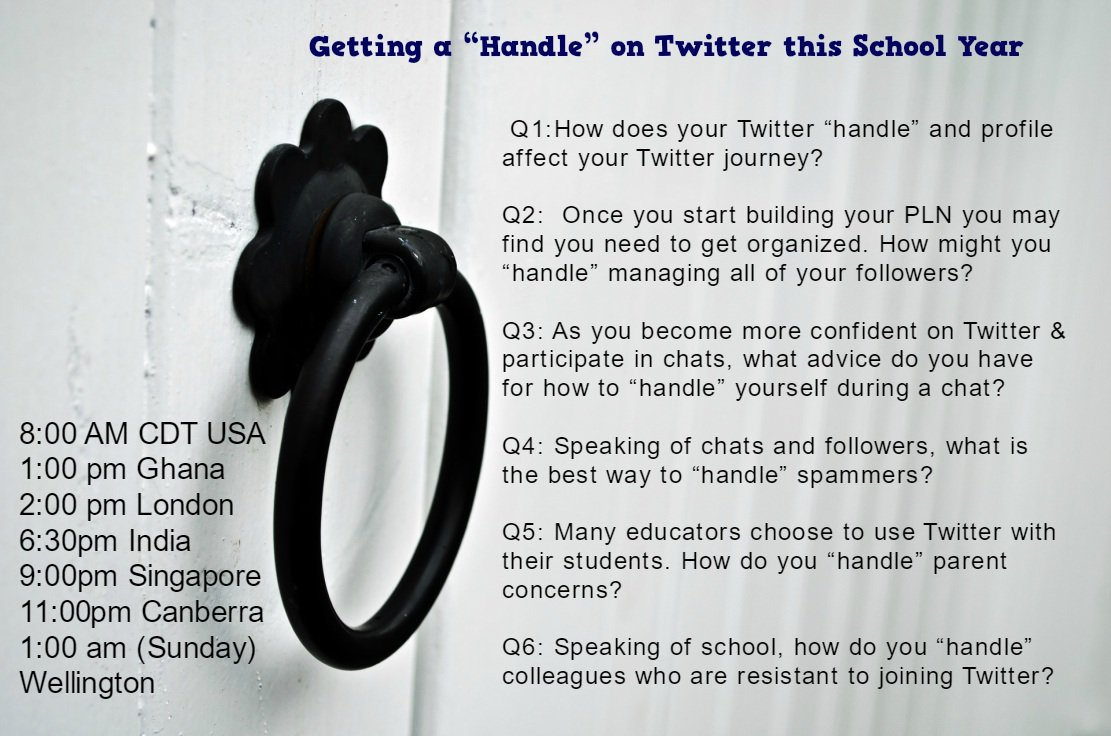 "#NT2t is back every week!Plz join us 9/3 as we discuss getting a ""handle"" on Twitter Plz RT @hturk139 @stephwurking https://t.co/mIEZQLcf8I"