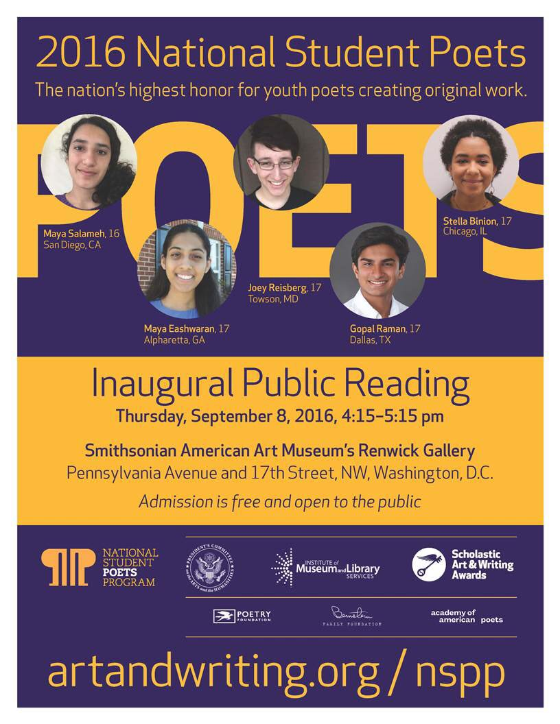 Congrats to the 2016 #NationalStudentPoets! @PCAH_gov @artandwriting https://t.co/UvASfBEbia