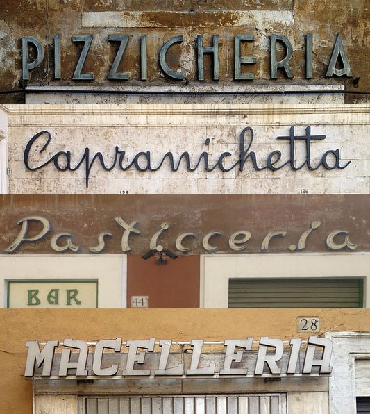 Rejoice! @innnigs has joined the Flickr letterheads. For starters: shop signs from Rome