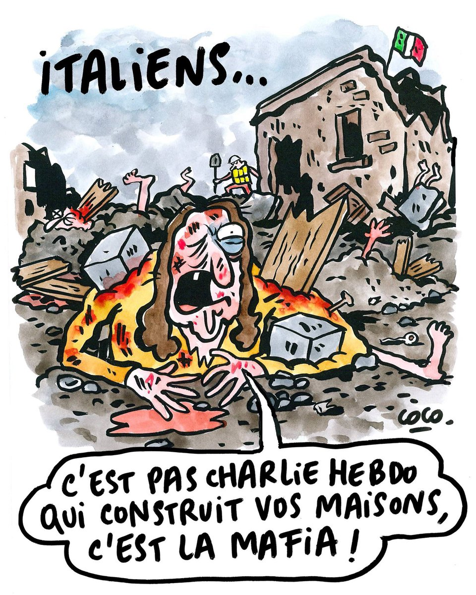 Italiani... non è Charlie Hebdo che costruisce le vostre case, è la mafia!