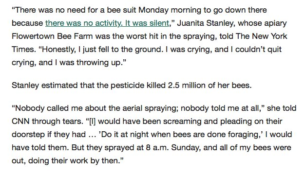 South Carolina needlessly kills millions of bees by conducting Zika spraying at wrong time https://t.co/PCuxIH9Gd1 https://t.co/ZOvYBB7S5k