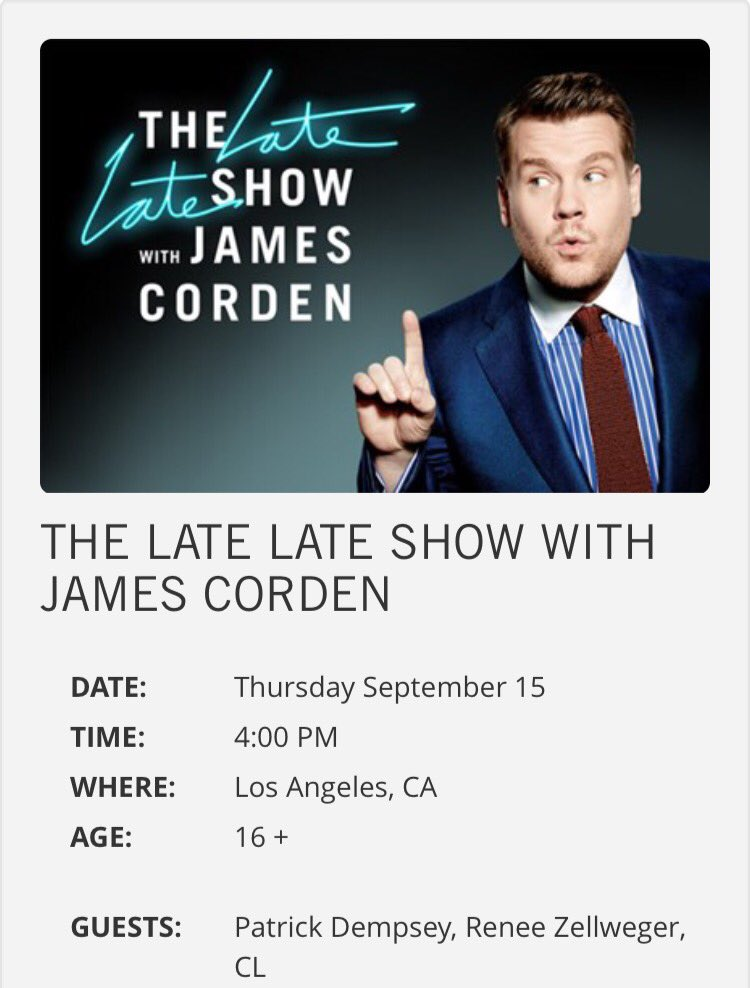 """[INFO] CL to guest on """"The Late Late Show With James Corden"""" on Sept. 15th!!! Go grab your ticket everyone!!! https://t.co/v2N1kRYp3X"""