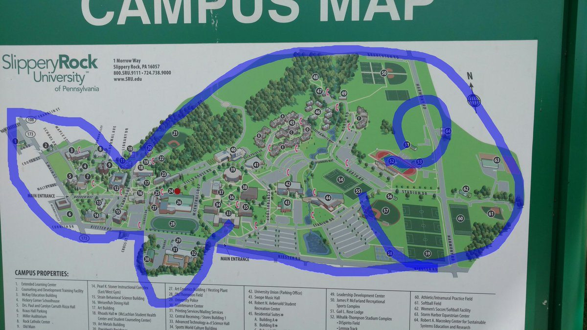Slippery Rock Campus Map Sru Campus Map | Earth Map