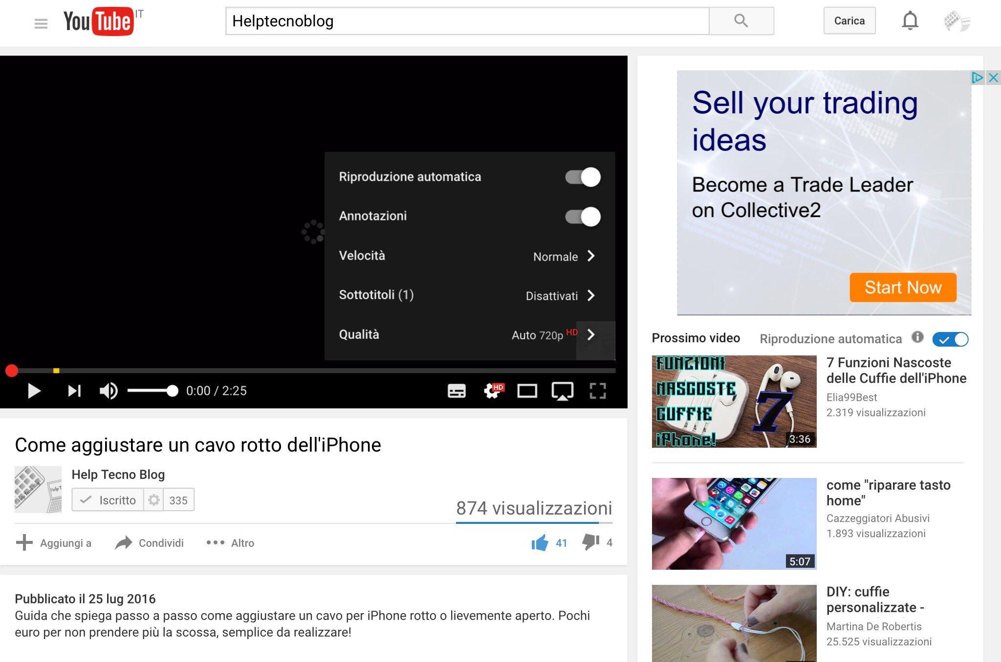 Come cambiare qualità video YouTube