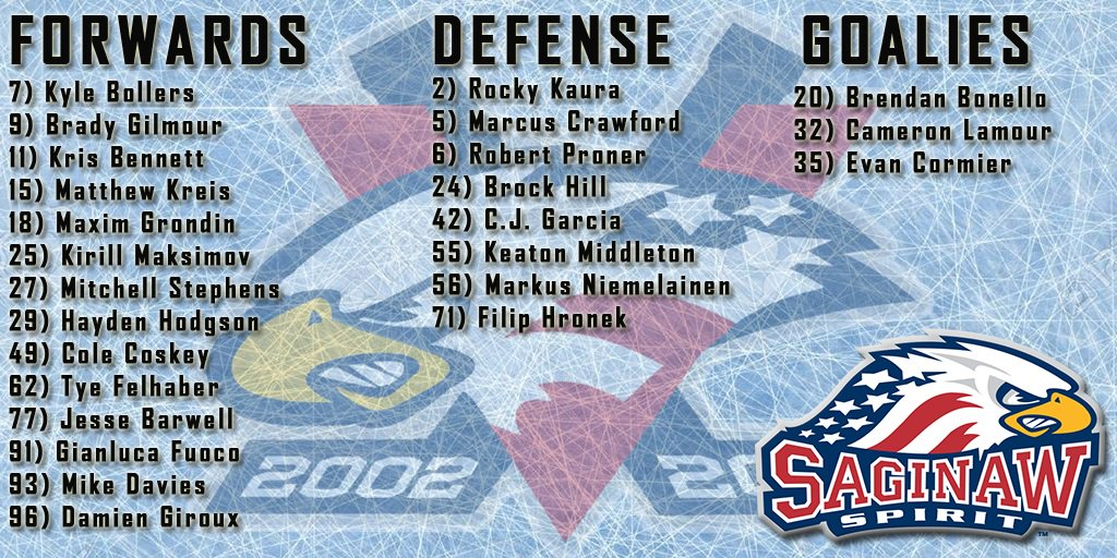 Here's your Saginaw .@SpiritHockey roster for this season.  .@WNEMTV5news #My5TV pic.twitter.com/Qi3lCAklcx