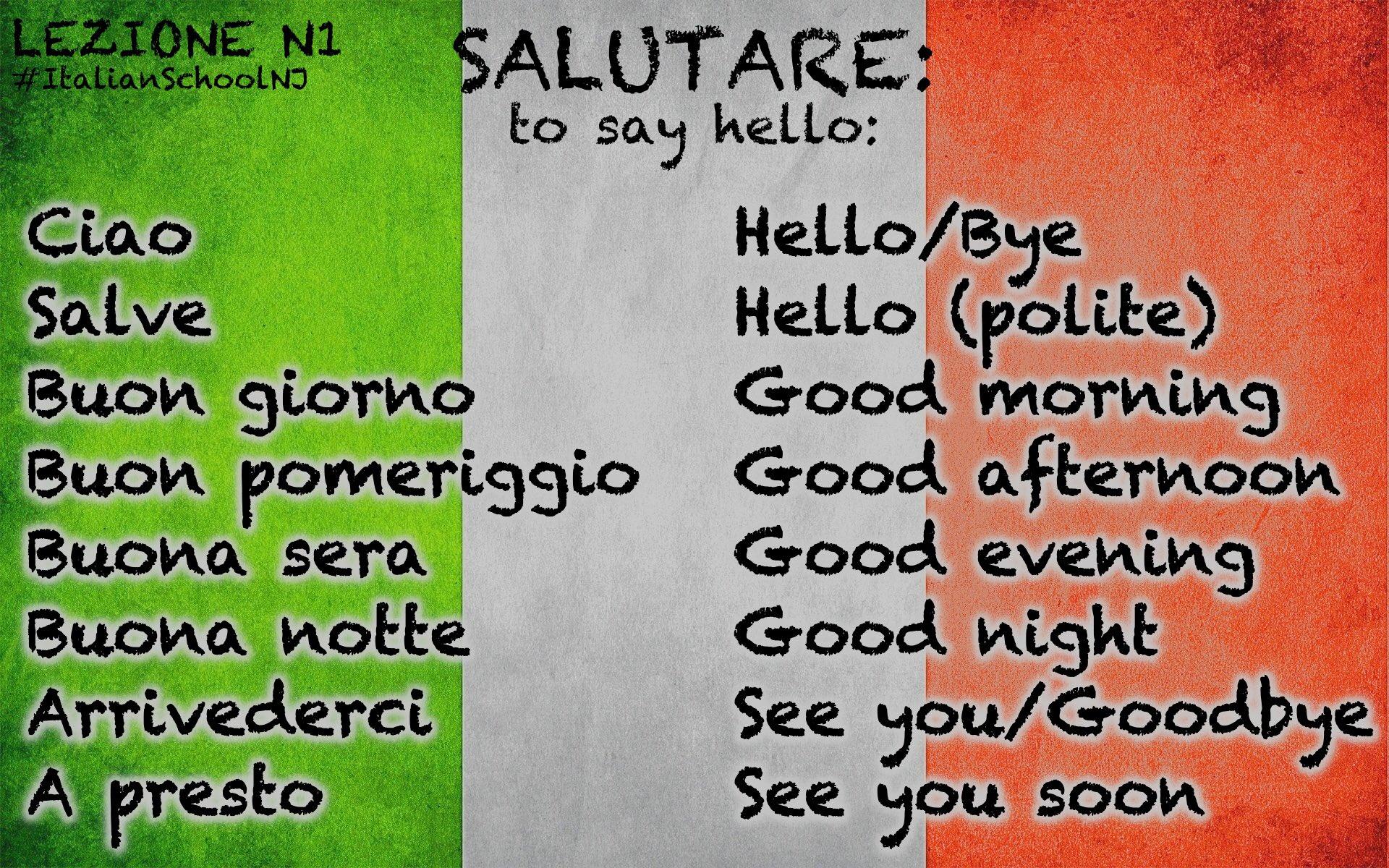 "English In Italian: Italian School NJ On Twitter: ""#Lezione N1: Salutare=to"