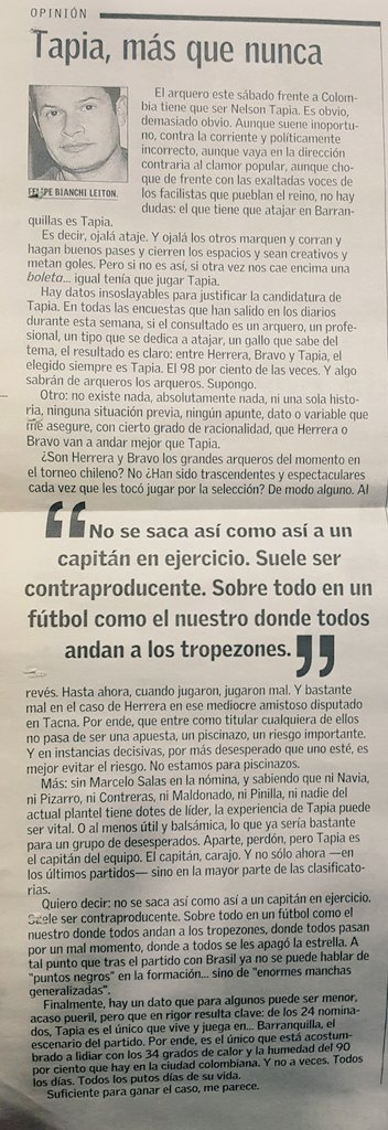Esta era la discusión en 2005. Tapia, Bravo o Herrera. https://t.co/GODjcEiGsR
