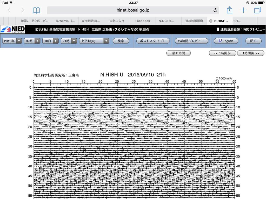 この広島南21時30分過ぎの微振動の変化は何だ? カープになんか有りましたか? https://t.co/J8Wwi8ZMfa