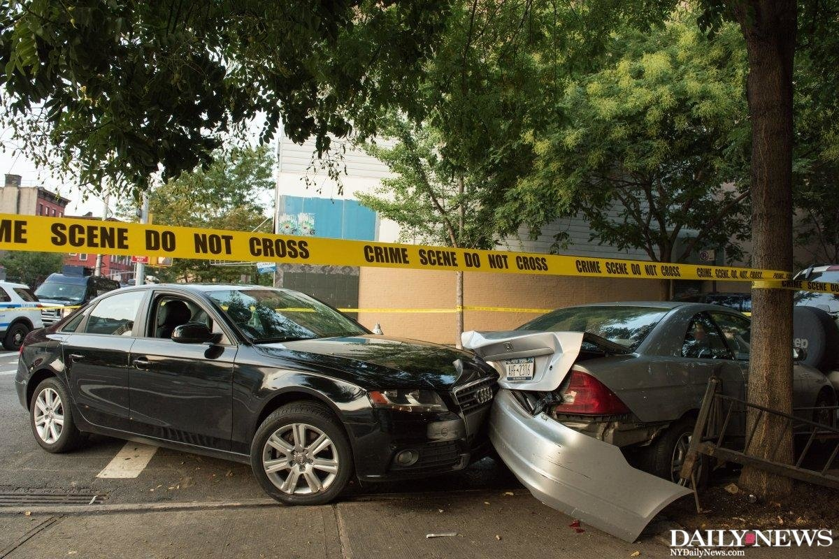 East harlem man shot in the chest crashes into parked car after