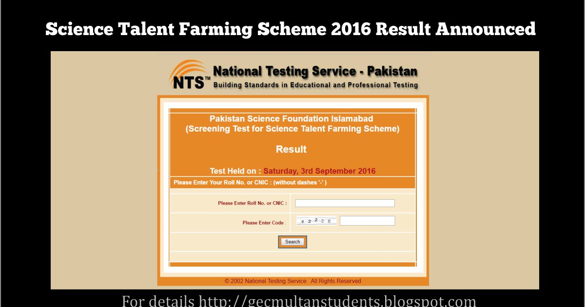 Nts Result By Cnic 2019