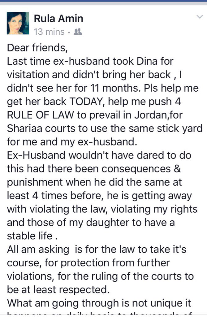 Help so rule of law prevails in #Jordan so I can get my daughter back #shariaacourt #women rights pt 1 https://t.co/V5VuLPXcOY