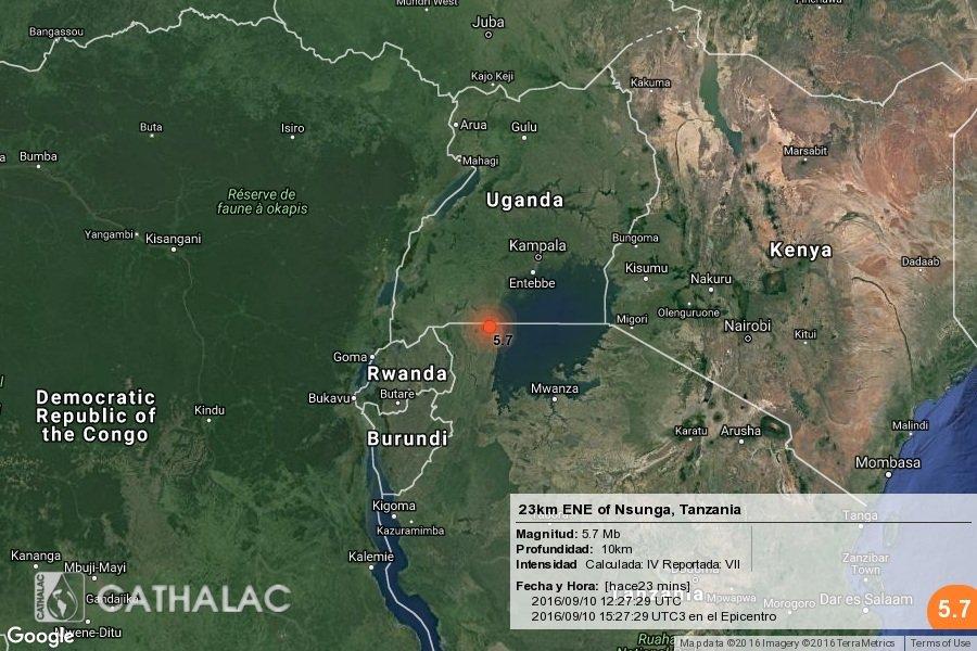 Terremoto Oggi in Tanzania: Scossa M5.7 epicentro 23km ENE di Nsunga