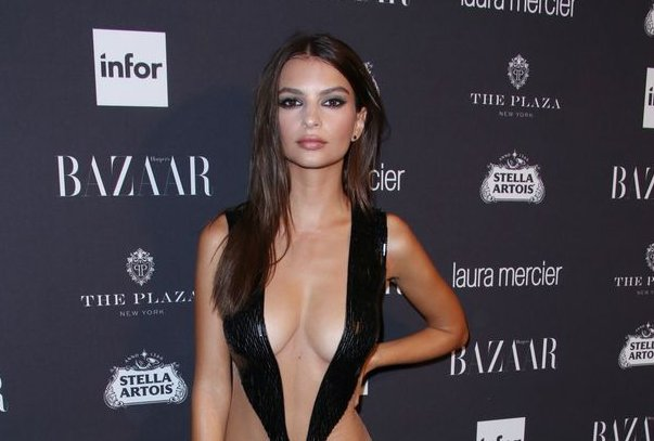 1e50015595c5 Emily ratajkowski dazzles with plenty of cleavage in extremely low-cut dress  at party  - scoopnest.com