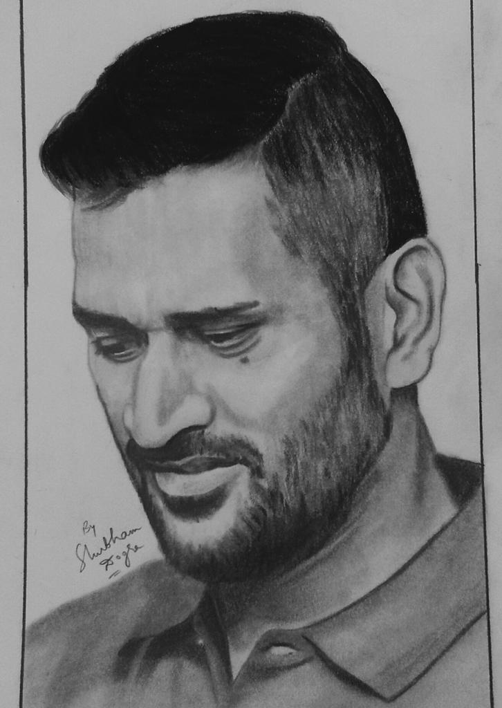 Msdfan shubham dogra on twitter msdhoni latest pencil sketch drawn by me today love sketching but love sketching his pics the most arunpandey99